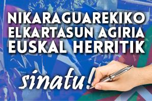 Nikaraguerekiko elkartasun agiria Euskal Herritik